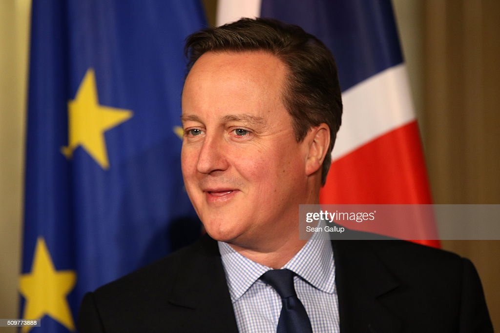British Prime Minister <a gi-track='captionPersonalityLinkClicked' href=/galleries/search?phrase=David+Cameron+-+Homme+politique&family=editorial&specificpeople=227076 ng-click='$event.stopPropagation()'>David Cameron</a> attends the annual Matthiae-Mahl dinner at Hamburg City Hall on February 12, 2016 in Hamburg, Germany. The two leaders are there on the invitation of Hamburg Mayor Olaf Scholz, who reportedly saw the dinner as a gesture to show Germany's hope that Great Britain will remain in the European Union. The Matthiae-Mahl is a Hamburg tradition dating back to 1356 and began as a fest to welcome the spring season and also to honor a foreign official.