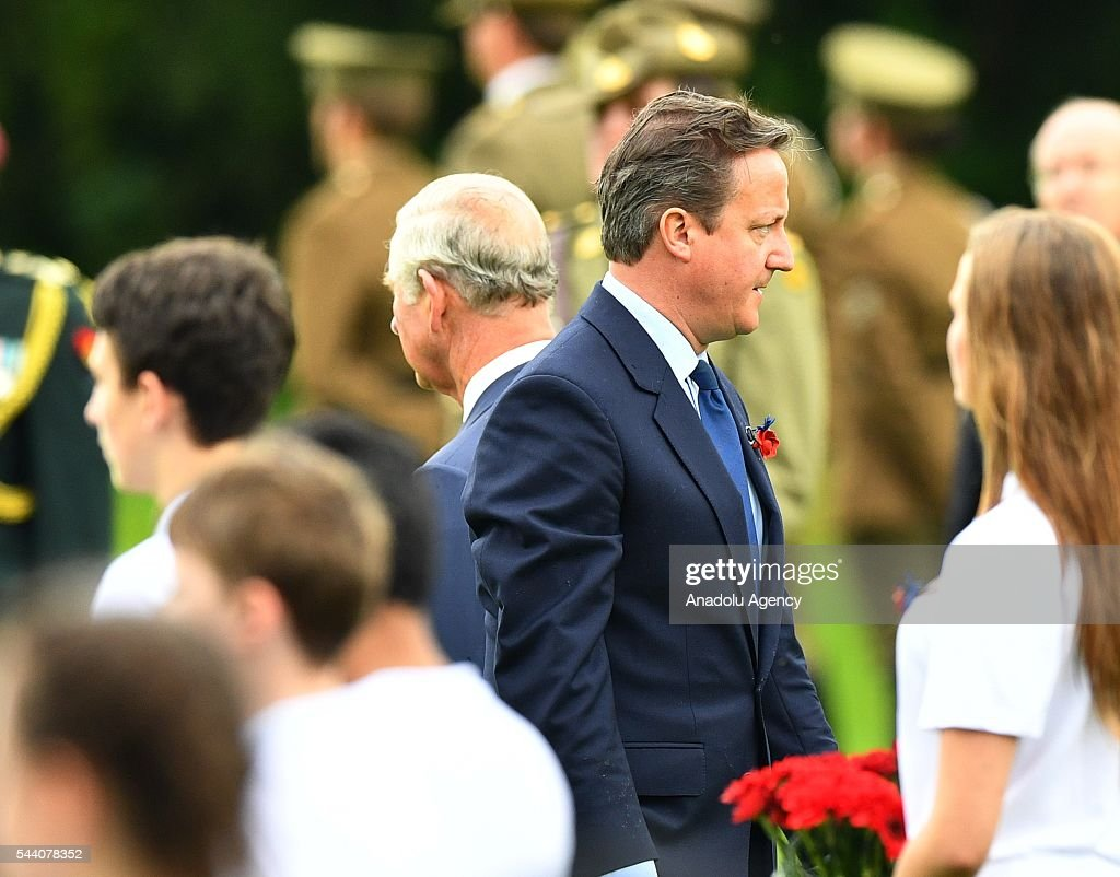 British Prime Minister David Cameron (2nd R) attends the ceremony to mark the centenary of the Battle of the Somme at the Thiepval monument, in Thiepval, near Amiens, northern France on July 01, 2016. The Battle of the Somme remains as one of the most deadly battles of the First World War.