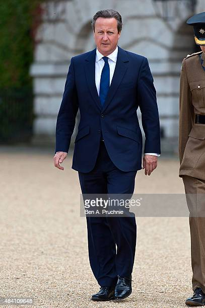 British Prime Minister David Cameron attends the Drumhead Service during the 70th Anniversary commemorations of VJ Day on Horse Guards Parade on...