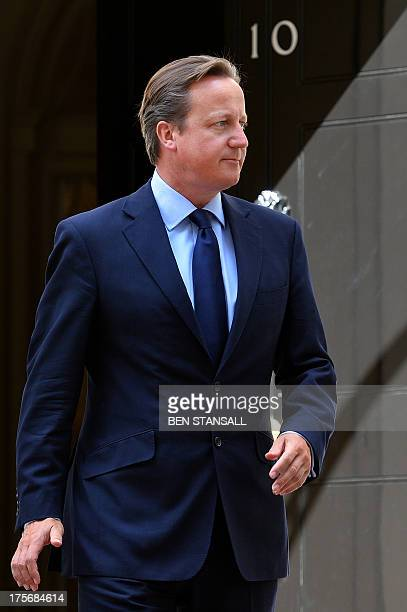 British Prime Minister David Cameron awaits the arrival of the King of Bahrain Sheikh Hamad bin Issa AlKhalifah to Downing street in central London...