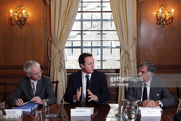 British Prime Minister David Cameron chairs a meeting of the 'UKIndia CEO Forum' at 10 Downing Street on February 3 2011 in London England The...