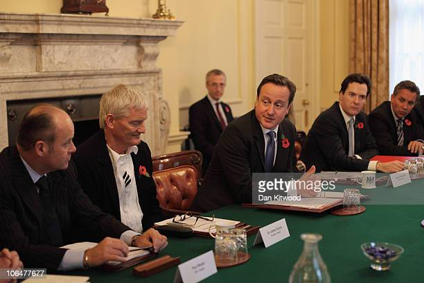 British Prime Minister David Cameron chairs the first of the Business Advisory group meetings as George Osborne and Sir James Dyson on November 3...