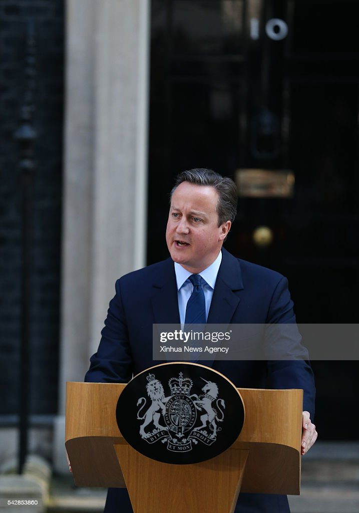 British Prime Minister David Cameron delivers a speech at 10 Downing Street in London, Britain, June 24, 2016. Britain Prime Minister David Cameron on Friday morning announced his intention to resign after his country has voted to leave the European Union.