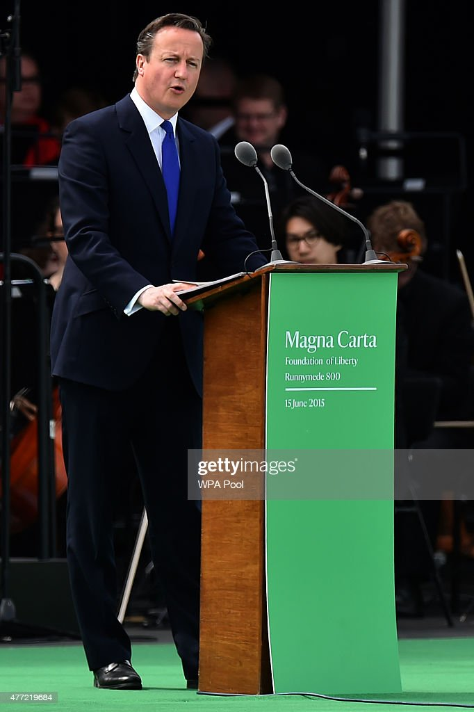 British Prime Minister David Cameron delivers a speech during a service to mark the 800th anniversary of Magna Carta on June 15, 2015 in Runnymede, United Kingdom. Members of the Royal Family are visiting Runnymede to attend an event commemorating the 800th anniversary of Magna Carta. Magna Carta is widely recognised as one of the most significant documents in history. Its influence, as a cornerstone of fundamental liberties, is felt around the world in the constitutions and political traditions of countless nations.