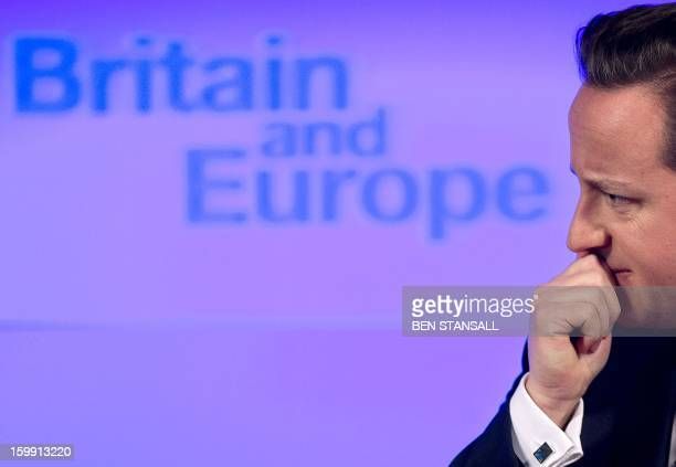 British Prime Minister David Cameron delivers a speech on 'the future of the European Union and Britain's role within it' in central London on...