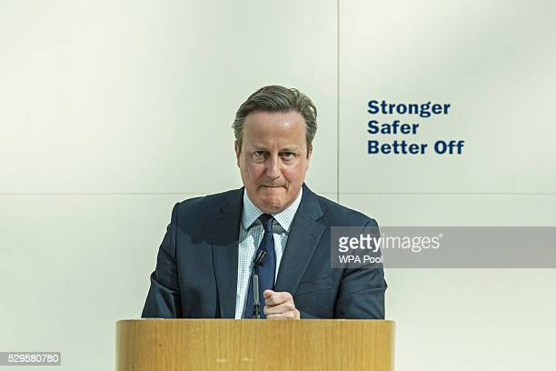 British Prime Minister David Cameron delivers a speech on the European Union at the British Museum on May 9 2016 in London England Prime Minister...