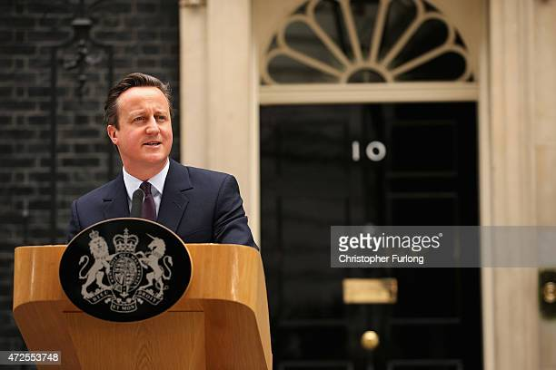 British Prime Minister David Cameron delivers a speech outside10 Downing Street on May 8 2015 in London England After the United Kingdom went to the...