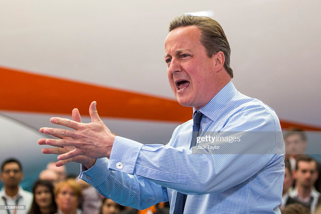British Prime Minister <a gi-track='captionPersonalityLinkClicked' href=/galleries/search?phrase=David+Cameron+-+Pol%C3%ADtico&family=editorial&specificpeople=227076 ng-click='$event.stopPropagation()'>David Cameron</a> delivers a speech to easyJet employees at the aviation company's Luton Airport Hangar on May 24, 2016 in Luton, England. Mr Cameron is campaigning to remain in the European Union ahead of the EU referendum on the 23rd of June.