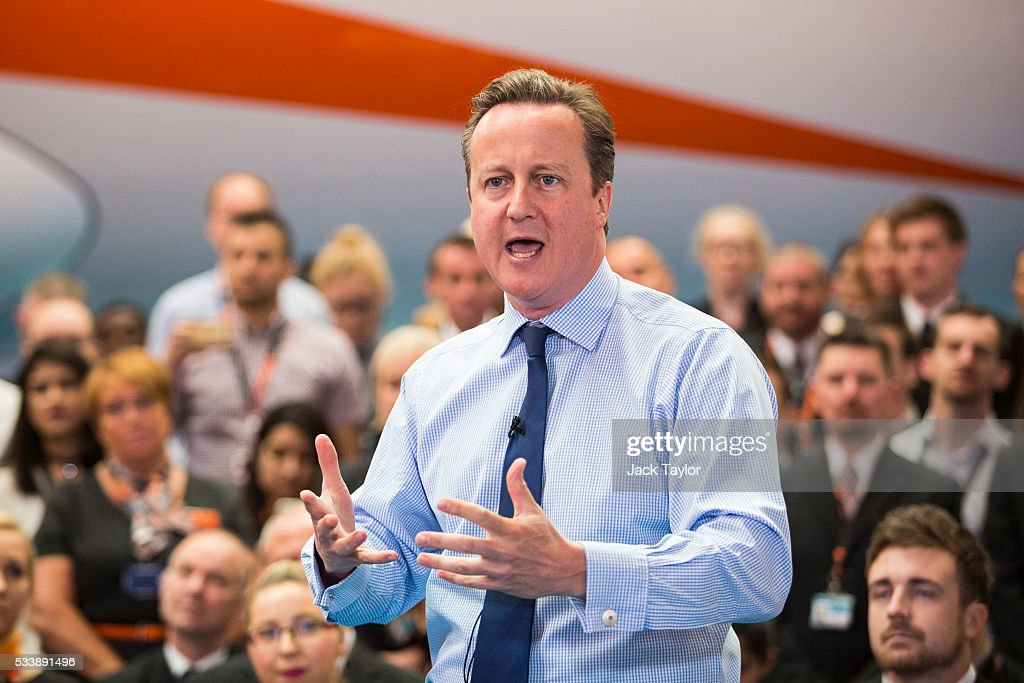 British Prime Minister <a gi-track='captionPersonalityLinkClicked' href=/galleries/search?phrase=David+Cameron+-+Politico&family=editorial&specificpeople=227076 ng-click='$event.stopPropagation()'>David Cameron</a> delivers a speech to easyJet employees at the aviation company's Luton Airport Hangar on May 24, 2016 in Luton, England. Mr Cameron is campaigning to remain in the European Union ahead of the EU referendum on the 23rd of June.
