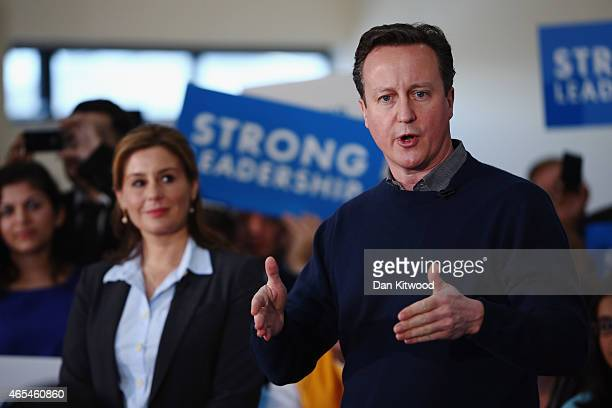 British Prime Minister David Cameron delivers a speech to party supporters at the Dhamecha Lohana Centre on March 7 2015 in London England Mr Cameron...