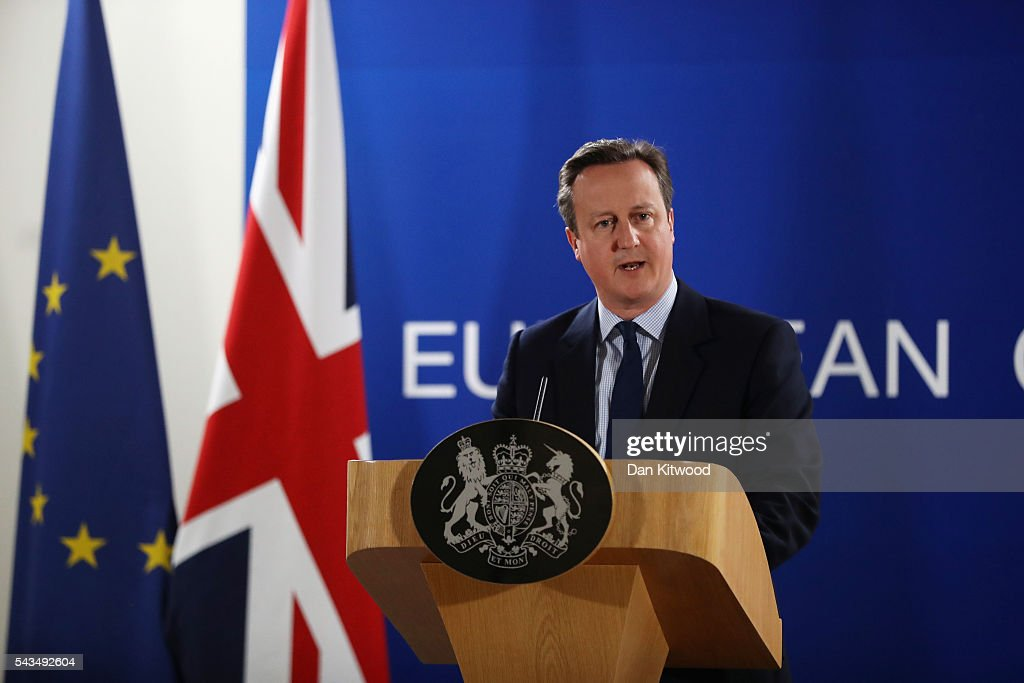 British Prime Minister David Cameron delivers his final press briefing before leaving his last European Council Meeting at the Council of the European Union on June 28, 2016 in Brussels, Belgium. British Prime Minister David Cameron will hold talks with other EU leaders in what will likely be his final scheduled meeting with the full European Council before he stands down as Prime Minister. The meetings come at a time of economic and political uncertainty following the referendum result last week which saw the UK vote to leave the European Union.