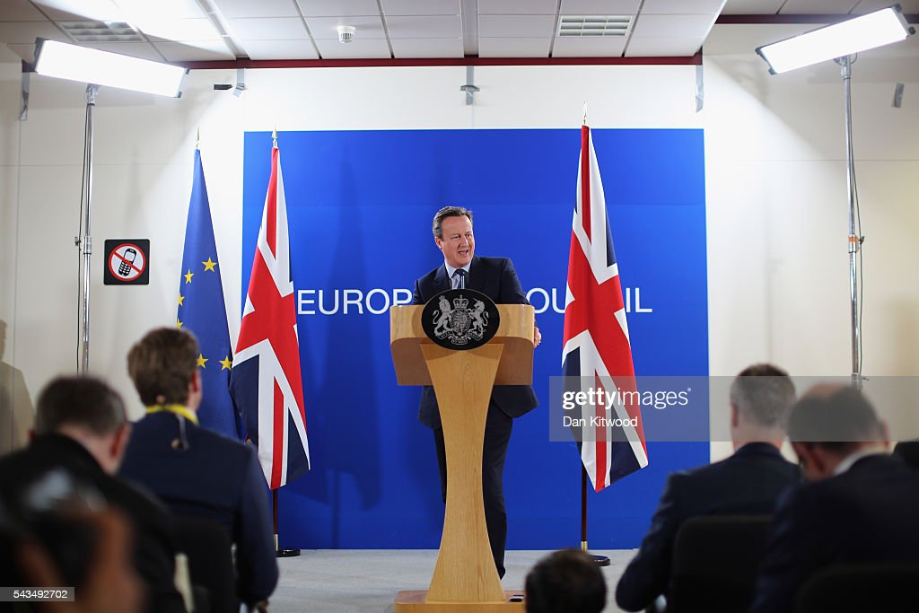British Prime Minister <a gi-track='captionPersonalityLinkClicked' href=/galleries/search?phrase=David+Cameron+-+Politician&family=editorial&specificpeople=227076 ng-click='$event.stopPropagation()'>David Cameron</a> delivers his final press briefing before leaving his last European Council Meeting at the Council of the European Union on June 28, 2016 in Brussels, Belgium. British Prime Minister <a gi-track='captionPersonalityLinkClicked' href=/galleries/search?phrase=David+Cameron+-+Politician&family=editorial&specificpeople=227076 ng-click='$event.stopPropagation()'>David Cameron</a> will hold talks with other EU leaders in what will likely be his final scheduled meeting with the full European Council before he stands down as Prime Minister. The meetings come at a time of economic and political uncertainty following the referendum result last week which saw the UK vote to leave the European Union.
