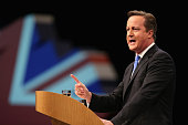British Prime Minister David Cameron delivers his keynote speech on the last day of the annual Conservative Party Conference at Manchester Central on...