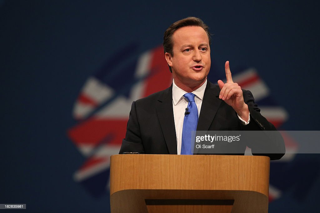 British Prime Minister David Cameron delivers his keynote speech on the last day of the annual Conservative Party Conference at Manchester Central on October 2, 2013 in Manchester, England. During his closing speech David Cameron will say that his 'abiding mission' would make the UK into a 'land of opportunity'.