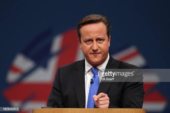 British Prime Minister David Cameron delivers his keynote speech to delegates on the last day of the annual Conservative Party Conference at...