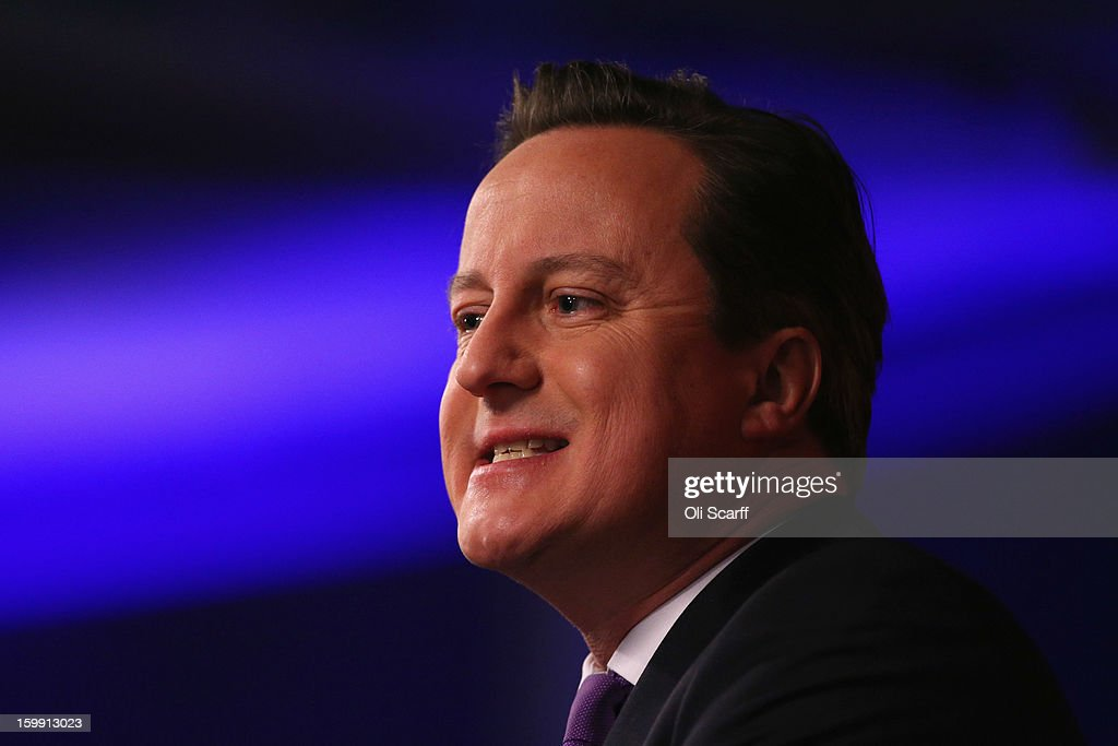 British Prime Minister David Cameron delivers his long-awaited speech on the UK's relationship with the EU on January 23, 2013 in London, England. Mr Cameron has promised a referendum on EU membership should the Conservatives win the next election.