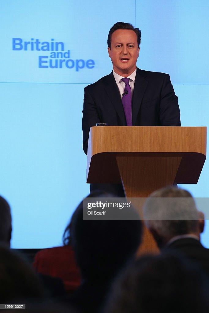 British Prime Minister <a gi-track='captionPersonalityLinkClicked' href=/galleries/search?phrase=David+Cameron+-+Homme+politique&family=editorial&specificpeople=227076 ng-click='$event.stopPropagation()'>David Cameron</a> delivers his long-awaited speech on the UK's relationship with the EU on January 23, 2013 in London, England. Mr Cameron has promised a referendum on EU membership should the Conservatives win the next election.