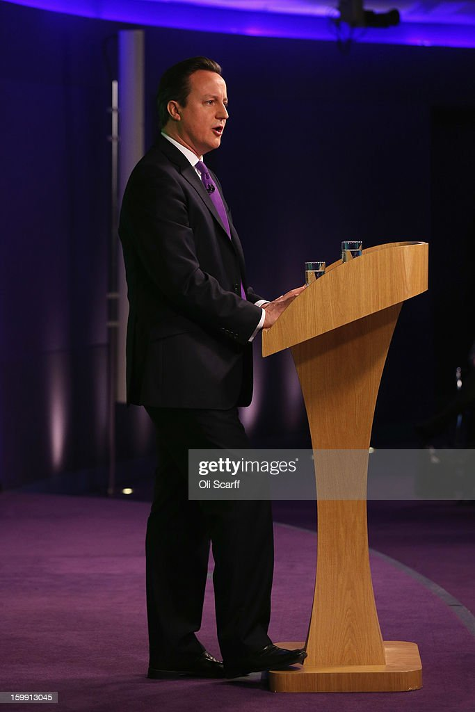British Prime Minister <a gi-track='captionPersonalityLinkClicked' href=/galleries/search?phrase=David+Cameron+-+Politiker&family=editorial&specificpeople=227076 ng-click='$event.stopPropagation()'>David Cameron</a> delivers his long-awaited speech on the UK's relationship with the EU on January 23, 2013 in London, England. Mr Cameron has promised a referendum on EU membership should the Conservatives win the next election.