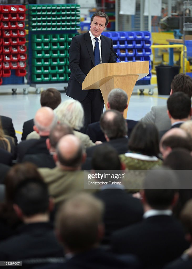 British Prime Minister <a gi-track='captionPersonalityLinkClicked' href=/galleries/search?phrase=David+Cameron+-+Politician&family=editorial&specificpeople=227076 ng-click='$event.stopPropagation()'>David Cameron</a> delivers his speech on the economy during a visit to precision grinding engineers Cinetic Landis Ltd on March 7, 2013 in Keighley, England. During his visit to West Yorkshire the prime minister emphasised that he will hold firm on the economy and that any change in the governments route to economic recovery would plunge the UK 'back into the abyss'.