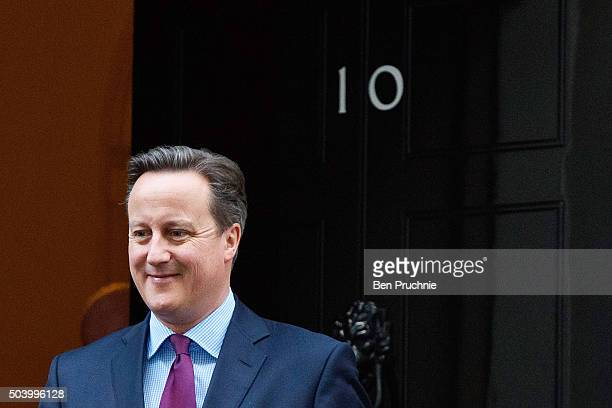 British Prime Minister David Cameron departs Number 10 Downing Street to meet Queen Rania of Jordan on January 8 2016 in London England The Prime...