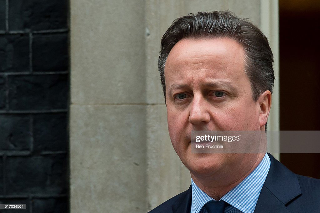 British Prime Minister David Cameron departs Number 10 Downing Street on March 23, 2016 in London, England. David Cameron chaired a second Cobra meeting today in the wake of yesterday's Brussels attacks in which 34 people were killed. He said that UK security had been stepped up in the wake of 'a very real terror threat' across Europe. Home Secretary Theresa May will make a statement to the House of Commons following Prime Minister's Questions.