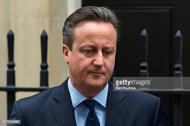 British Prime Minister David Cameron departs Number 10 Downing Street on March 23 2016 in London England David Cameron chaired a second Cobra meeting...