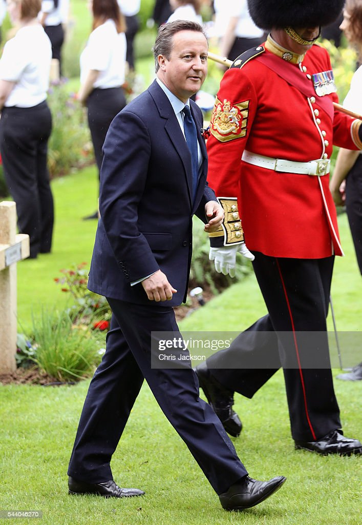British Prime Minister <a gi-track='captionPersonalityLinkClicked' href=/galleries/search?phrase=David+Cameron+-+Politician&family=editorial&specificpeople=227076 ng-click='$event.stopPropagation()'>David Cameron</a> during Somme Centenary Commemorations on July 1, 2016 in Thiepval, France. Today marks exactly 100 years since the beginning of the battle of the Somme.