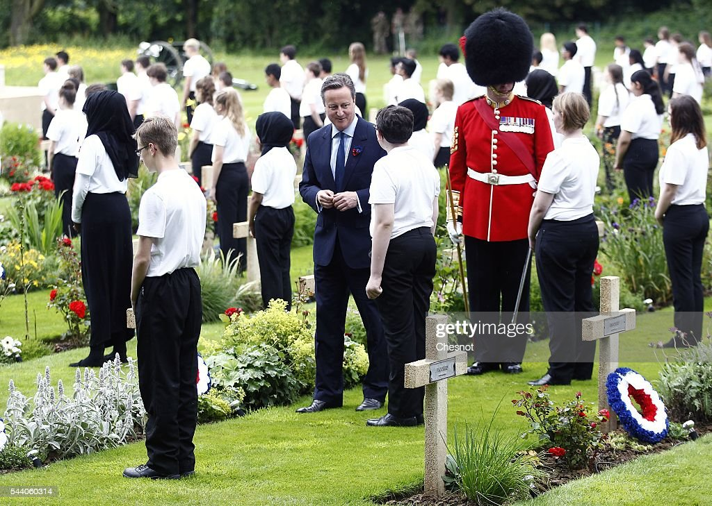 British Prime minister, David Cameron during Somme Centenary Commemorations on July 1, 2016 in Thiepval, France. Today marks exactly 100 years since the beginning of the battle of the Somme.