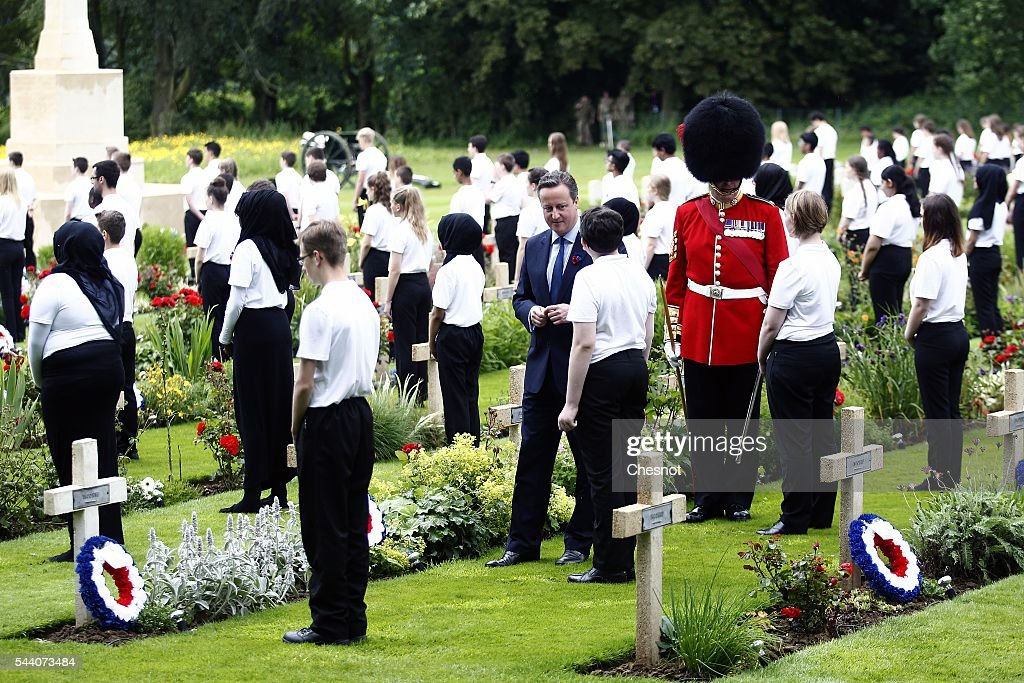 British Prime minister, <a gi-track='captionPersonalityLinkClicked' href=/galleries/search?phrase=David+Cameron+-+Politician&family=editorial&specificpeople=227076 ng-click='$event.stopPropagation()'>David Cameron</a> during Somme Centenary Commemorations on July 1, 2016 in Thiepval, France. Today marks exactly 100 years since the beginning of the battle of the Somme.