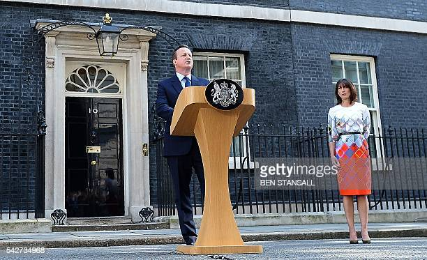 British Prime Minister David Cameron flanked his wife Samantha speaks to the press in front of 10 Downing street in central London on June 24 2016...