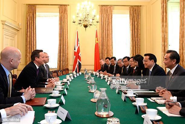 British Prime Minister David Cameron Foreign Secretary William Hague and Energy Secretary Edward Davey hold a plenary session with Chinese Premier Li...