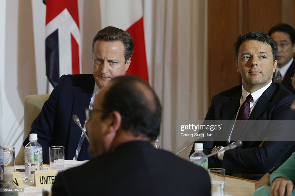 British Prime Minister <a gi-track='captionPersonalityLinkClicked' href=/galleries/search?phrase=David+Cameron+-+Homme+politique&family=editorial&specificpeople=227076 ng-click='$event.stopPropagation()'>David Cameron</a>, French President Francois Hollande and Italian Prime Minister <a gi-track='captionPersonalityLinkClicked' href=/galleries/search?phrase=Matteo+Renzi&family=editorial&specificpeople=6689301 ng-click='$event.stopPropagation()'>Matteo Renzi</a> attend the Japan EU EPA/FTA meeting on May 26, 2016 in Kashikojima, Japan. In the two-day summit, the G7 leaders are scheduled to discuss the pressing global issues including counter-terrorism, energy policy, and sustainable development.