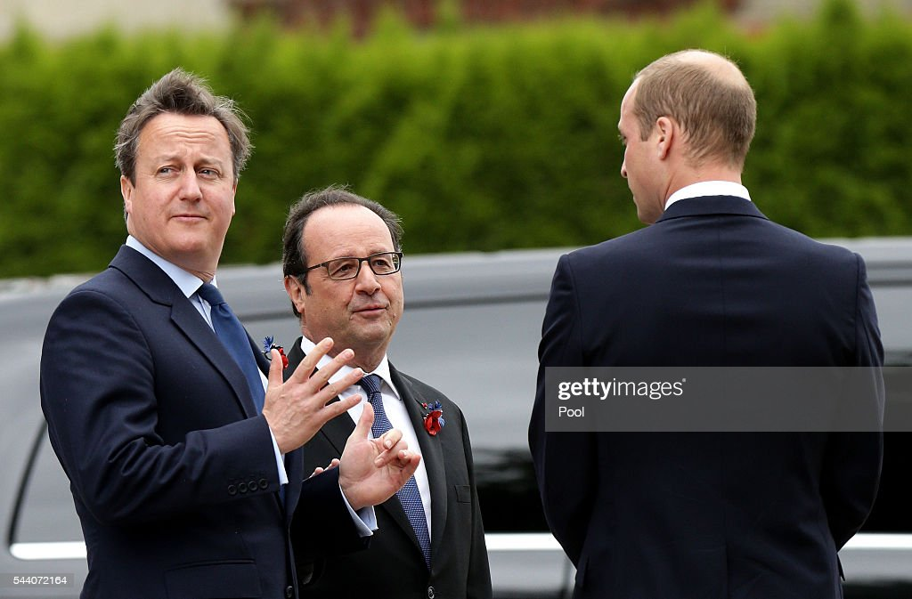 British Prime Minister <a gi-track='captionPersonalityLinkClicked' href=/galleries/search?phrase=David+Cameron+-+Politician&family=editorial&specificpeople=227076 ng-click='$event.stopPropagation()'>David Cameron</a>, French President Francois Hollande and <a gi-track='captionPersonalityLinkClicked' href=/galleries/search?phrase=Prince+William&family=editorial&specificpeople=178205 ng-click='$event.stopPropagation()'>Prince William</a>, Duke of Cambridge attend a service to mark the 100th anniversary of the beginning of the Battle of the Somme at the Thiepval memorial to the Missing on July 1, 2016 in Thiepval, France. The event is part of the Commemoration of the Centenary of the Battle of the Somme at the Commonwealth War Graves Commission Thiepval Memorial in Thiepval, France, where 70,000 British and Commonwealth soldiers with no known grave are commemorated.