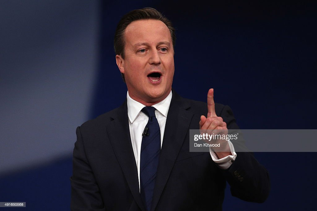 British Prime Minister David Cameron gives his keynote speech to delegates on the fourth and final day of the Conservative Party Conference, at Manchester Central on October 7, 2015 in Manchester, England. Mr Cameron has announced plans to encourage developers to build 200,000 new 'affordable' homes for first time buyers. The initiative is set up to secure the homes by the end of the parliament, and is one of the key election pledges of the Conservative's election campaign.
