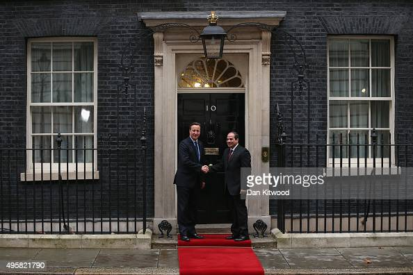 British Prime Minister David Cameron greets Egyptian President Abdel Fattah alSisi at 10 Downing Street on November 5 2015 in London England The...
