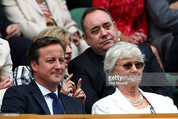 British Prime Minister David Cameron his mother Mary Cameron and First Minister of Scotland Alex Salmond sit in the Royal Box during the Gentlemen's...