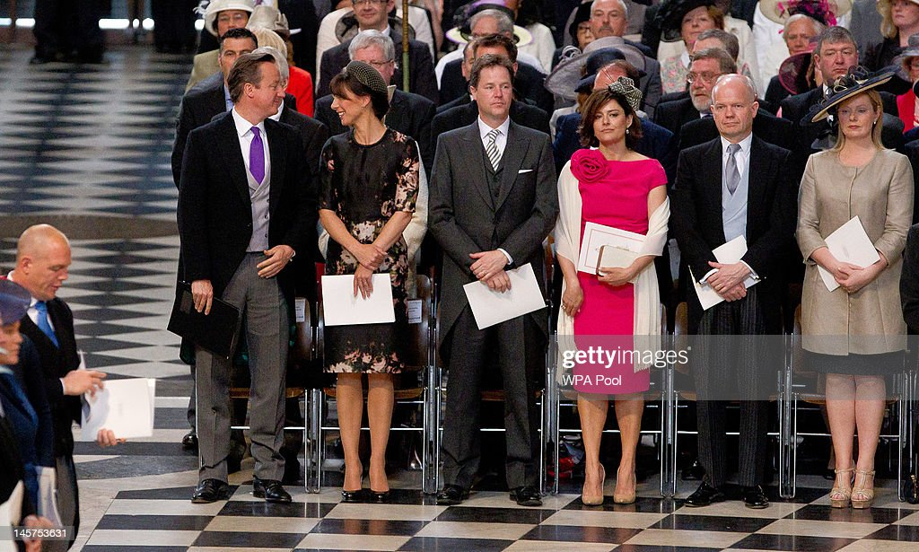 British Prime Minister David Cameron, his wife Samantha Cameron, Deputy British Prime Minister Nick Clegg, his wife Miriam Gonzalez, Foreign Secretary William Hague and his wife Ffion Hague during a service of thanksgiving to mark the Queen's Diamond Jubilee at St Paul's cathedral on June 5, 2012 in London, England. For only the second time in its history the UK celebrates the Diamond Jubilee of a monarch. Her Majesty Queen Elizabeth II celebrates the 60th anniversary of her ascension to the throne today with a carriage procession and a service of thanksgiving at St Paul's Cathedral.