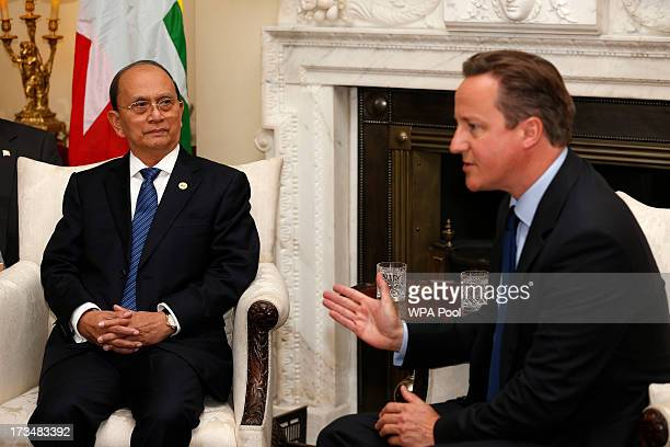 British Prime Minister David Cameron holds a meeting with the President of Burma Thein Sein at Downing Street on July 15 2013 in London England Thein...