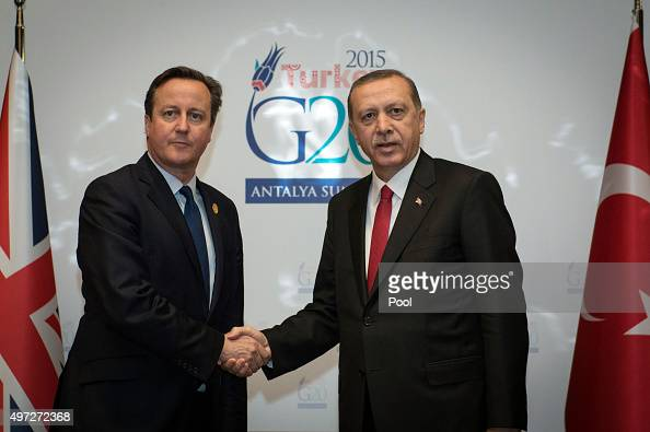 British Prime Minister David Cameron holds a meeting with Turkish President and G20 host Recep Tayyip Erdogan on day one of the G20 Turkey Leaders...