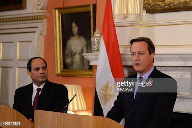 British Prime Minister David Cameron holds a news conference with Egyptian President Abdel Fattah elSisi at 10 Downing Street following their meeting...