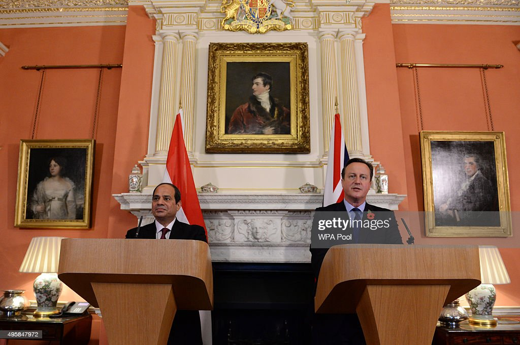 British Prime Minister <a gi-track='captionPersonalityLinkClicked' href=/galleries/search?phrase=David+Cameron+-+Politician&family=editorial&specificpeople=227076 ng-click='$event.stopPropagation()'>David Cameron</a> holds a news conference with Egyptian President <a gi-track='captionPersonalityLinkClicked' href=/galleries/search?phrase=Abdel+Fattah+el-Sisi&family=editorial&specificpeople=11096401 ng-click='$event.stopPropagation()'>Abdel Fattah el-Sisi</a> at 10 Downing Street following their meeting on November 5, 2015 in London, United Kingdom. Cameron has said it is 'more likely than not' that a Russian airliner was downed by a terrorist bomb as he defended moves to halt flights to and from Sharm el-Sheikh.