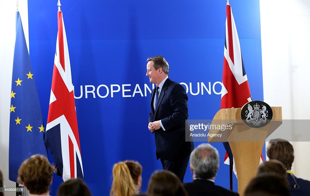 British Prime Minister David Cameron holds a press conference after EU summit meeting on June 28, 2016 in Brussels, Belgium.