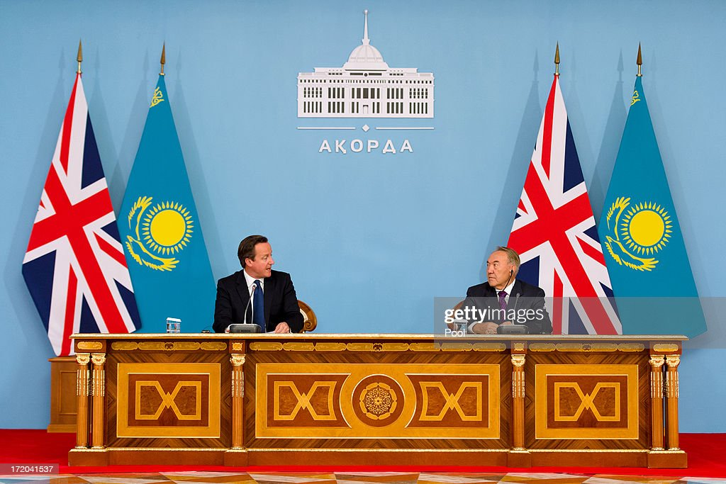British Prime Minister David Cameron (L) holds a press conference with Kazakhstan President Nursultan Nazarbayev after signing a strategic partnership agreement at the Presidential Palace on July 1, 2013 in Astana, Kazakhstan. Cameron is visiting Kazakhstan as part of a trade mission; the first ever trip to the country by a serving British Prime Minister, after making an unannounced trip to visit troops in Afghanistan and meeting with the Prime Minister of Pakistan in Islamabad.