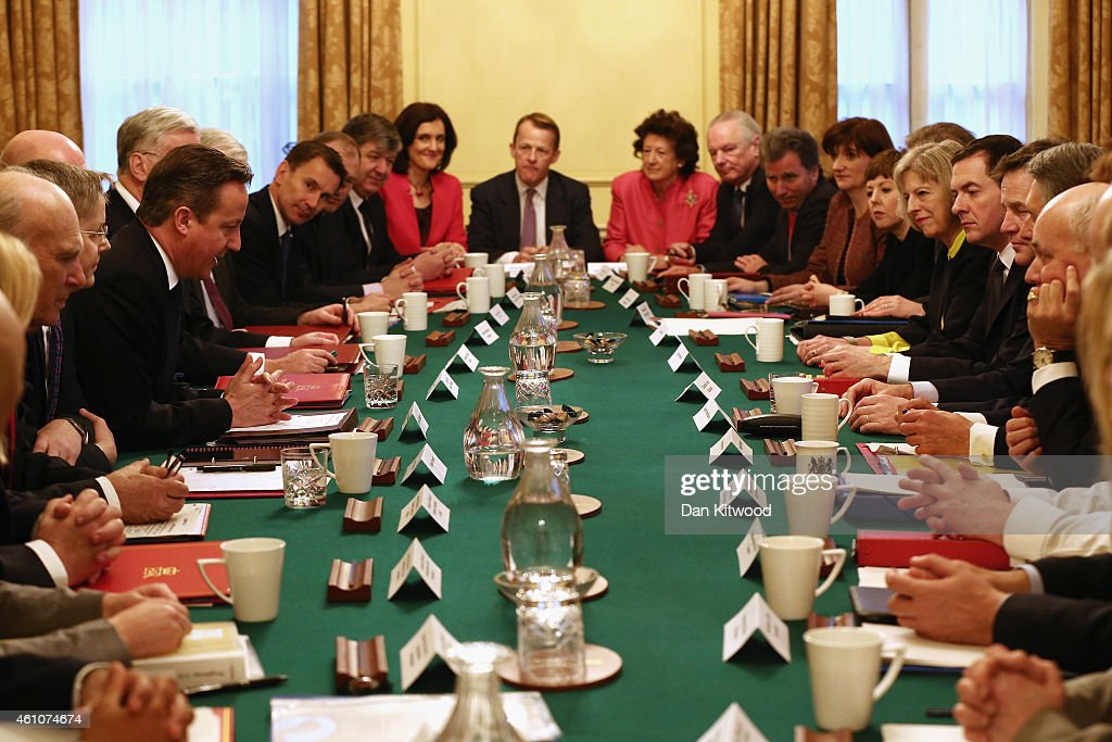 British Prime Minister David Cameron hosts a cabinet meeting at 10 Downing Street on January 6 2015 in London England The cabinet meeting is the...