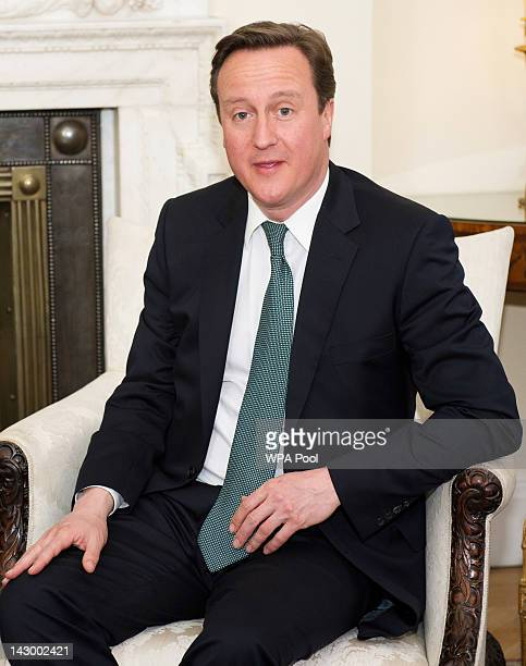 British Prime Minister David Cameron is pictured prior to his meeting with visiting Chinese Communist Party official Li Changchun at Downing Street...