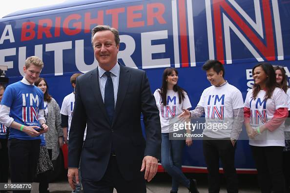 British Prime Minister David Cameron joins students at the launch of the 'Brighter Future In' campaign bus at Exeter University on April 7 2016 in...