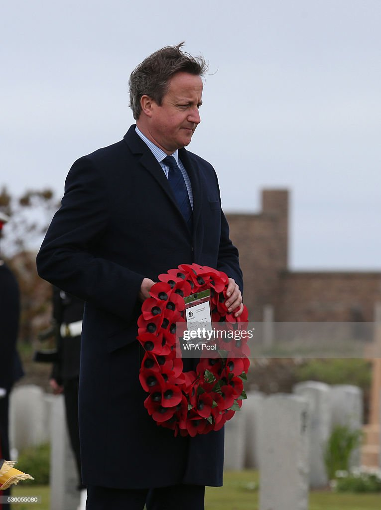 British Premier <a gi-track='captionPersonalityLinkClicked' href=/galleries/search?phrase=David+Cameron+-+Politician&family=editorial&specificpeople=227076 ng-click='$event.stopPropagation()'>David Cameron</a> lays a wreath at the Lyness cemetery during the 100th anniversary commemorations for the Battle of Jutland on May 31, 2016 in Hoy, Scotland. The event marks the centenary of the largest naval battle of World War One where more than 6,000 Britons and 2,500 Germans died in the Battle of Jutland fought near the coast of Denmark on 31 May and 1 June 1916.