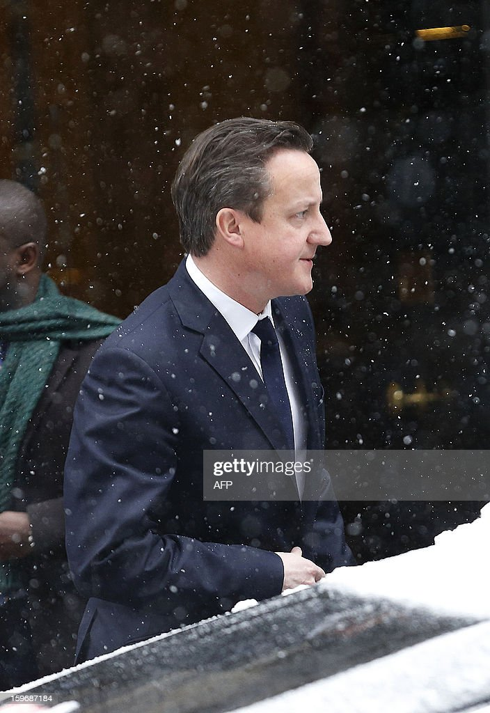 British Prime Minister David Cameron leaves 10 Downing Street in London, on January 18, 2013, as he prepares to address the House of Commons on the hostage taking situation in Algeria. Cameron said Friday Britain believed 'significantly' fewer than 30 British citizens were at risk in the hostage-taking crisis at an Algerian gas plant.