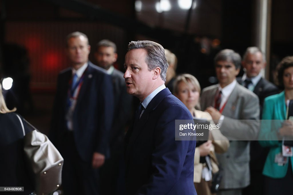 British Prime Minister <a gi-track='captionPersonalityLinkClicked' href=/galleries/search?phrase=David+Cameron+-+Politician&family=editorial&specificpeople=227076 ng-click='$event.stopPropagation()'>David Cameron</a> leaves after attending his last European Council Meeting at the Council of the European Union on June 28, 2016 in Brussels, Belgium. British Prime Minister <a gi-track='captionPersonalityLinkClicked' href=/galleries/search?phrase=David+Cameron+-+Politician&family=editorial&specificpeople=227076 ng-click='$event.stopPropagation()'>David Cameron</a> will hold talks with other EU leaders in what will likely be his final scheduled meeting with the full European Council before he stands down as Prime Minister. The meetings come at a time of economic and political uncertainty following the referendum result last week which saw the UK vote to leave the European Union.
