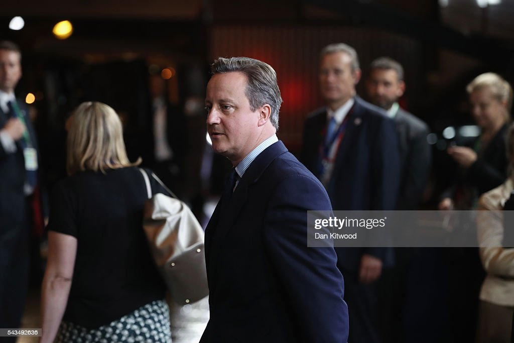 British Prime Minister David Cameron leaves after attending his last European Council Meeting at the Council of the European Union on June 28, 2016 in Brussels, Belgium. British Prime Minister David Cameron will hold talks with other EU leaders in what will likely be his final scheduled meeting with the full European Council before he stands down as Prime Minister. The meetings come at a time of economic and political uncertainty following the referendum result last week which saw the UK vote to leave the European Union.